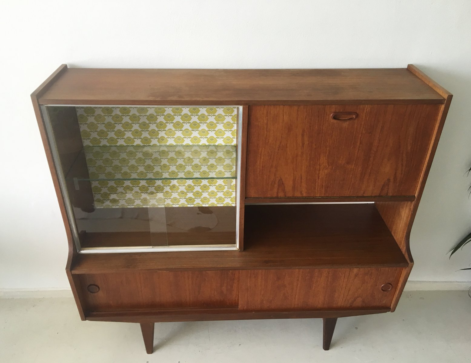 mid century dutch teak highboard with vintage wallpaper. Black Bedroom Furniture Sets. Home Design Ideas