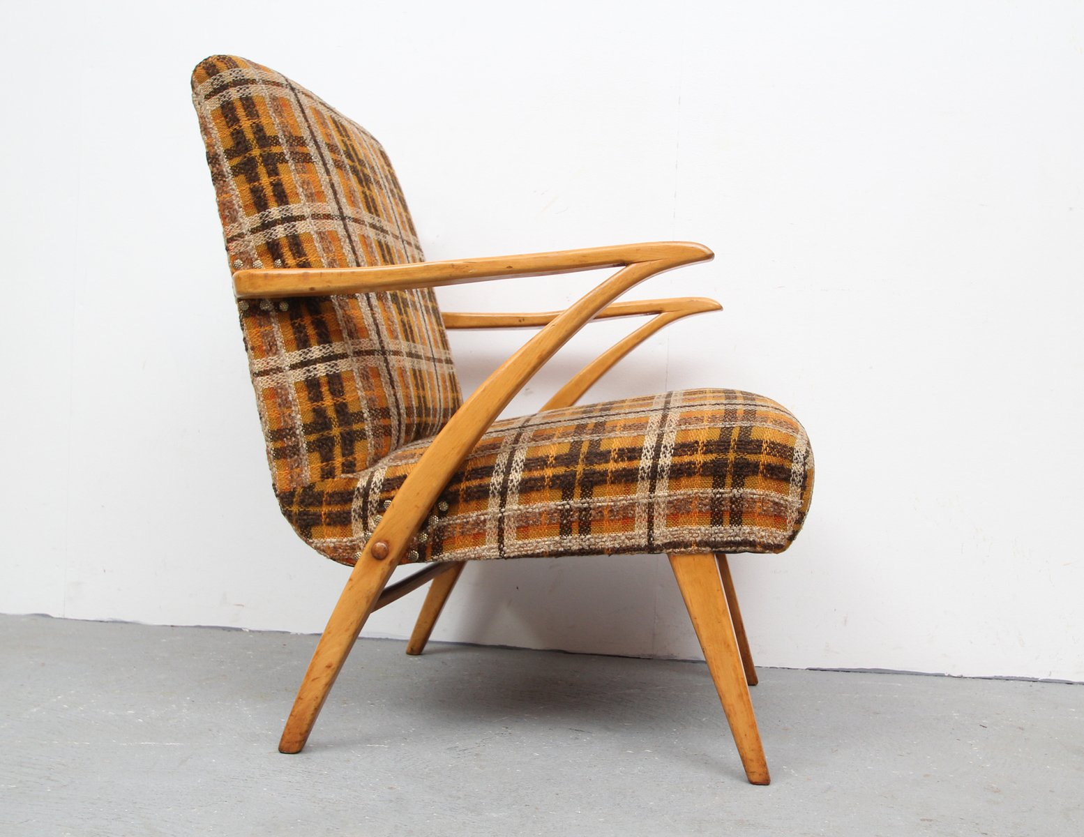 Wooden arm chair - Wooden Armchair With Checkered Fabric 1950s