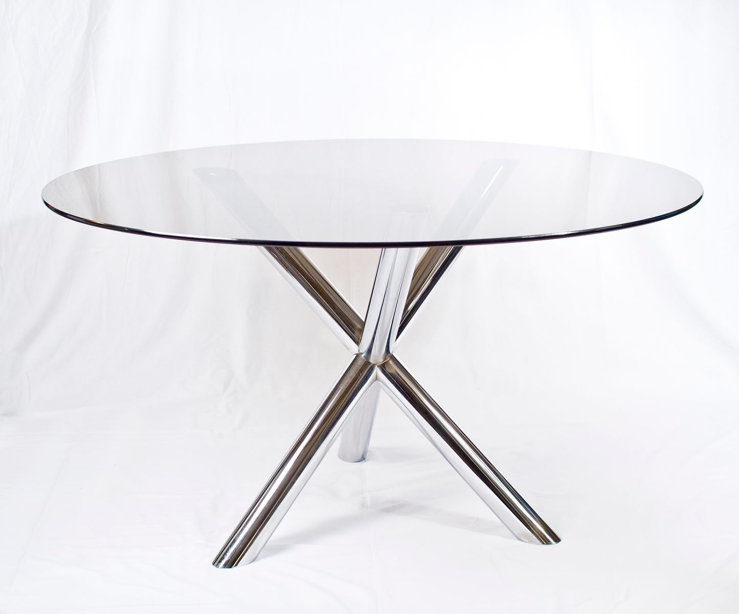 Chrome glass dining table 1970s for sale at pamono for Glass and chrome dining table