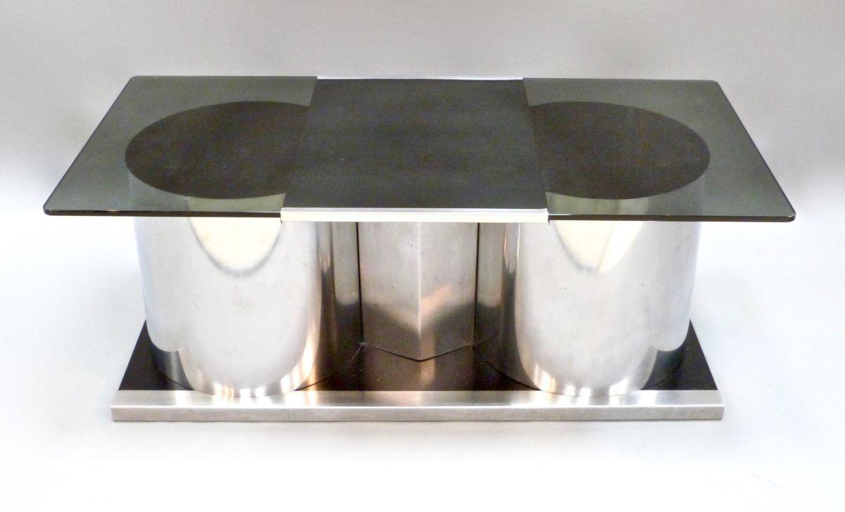 Italienischer cocktail tisch aus stahl glas 1970er bei for Tisch aus glas