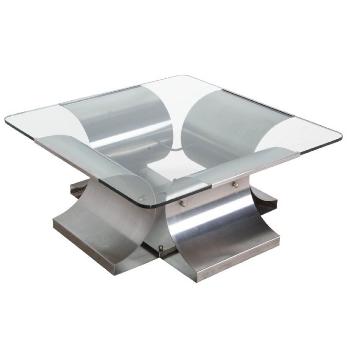 quadratischer franz sischer stahl tisch von francois monnet 1970er bei pamono kaufen. Black Bedroom Furniture Sets. Home Design Ideas
