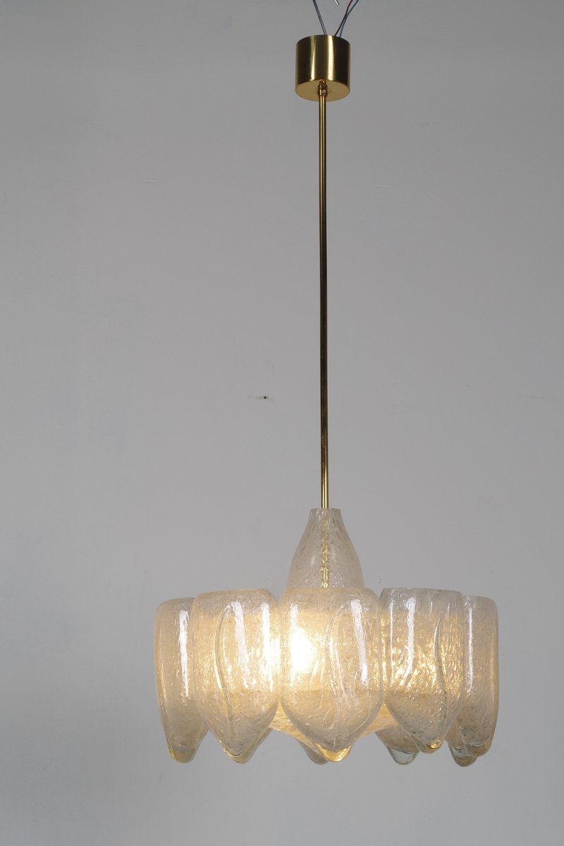 Mid Century Ice Glass Chandelier From Doria For Sale At Pamono