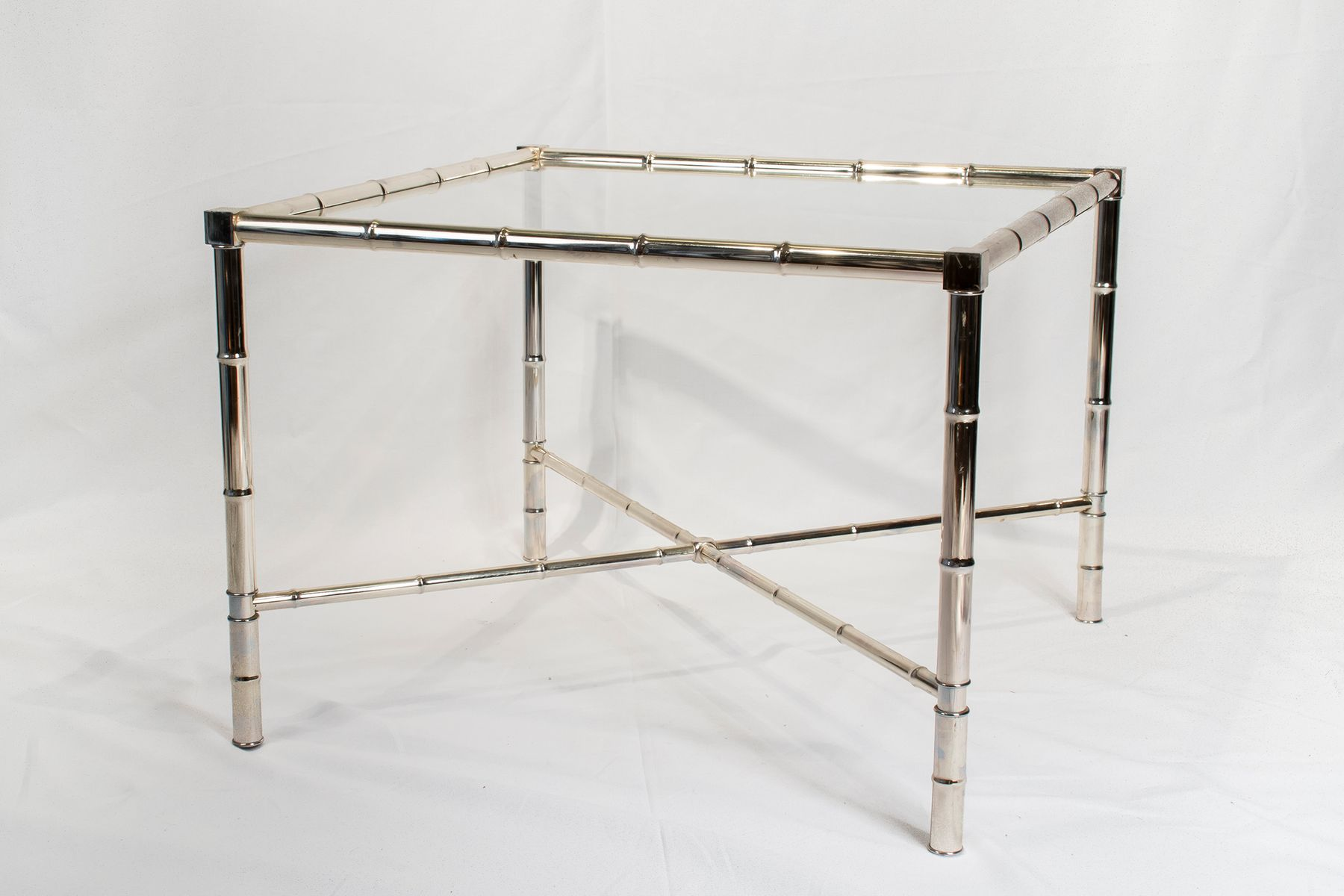 Vintage chrome side table with glass top for sale at pamono for Glass top side table