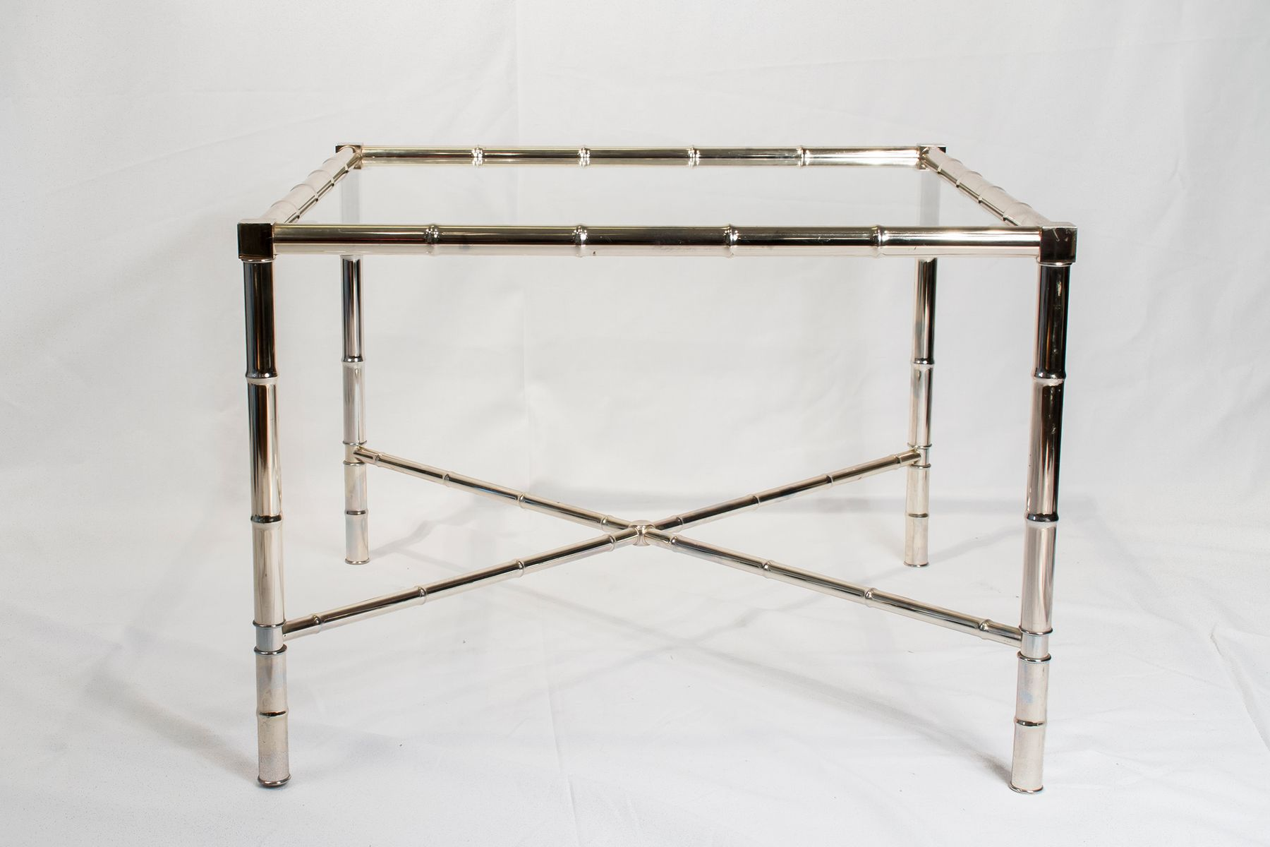 Vintage Chrome Side Table with Glass Top for sale at Pamono