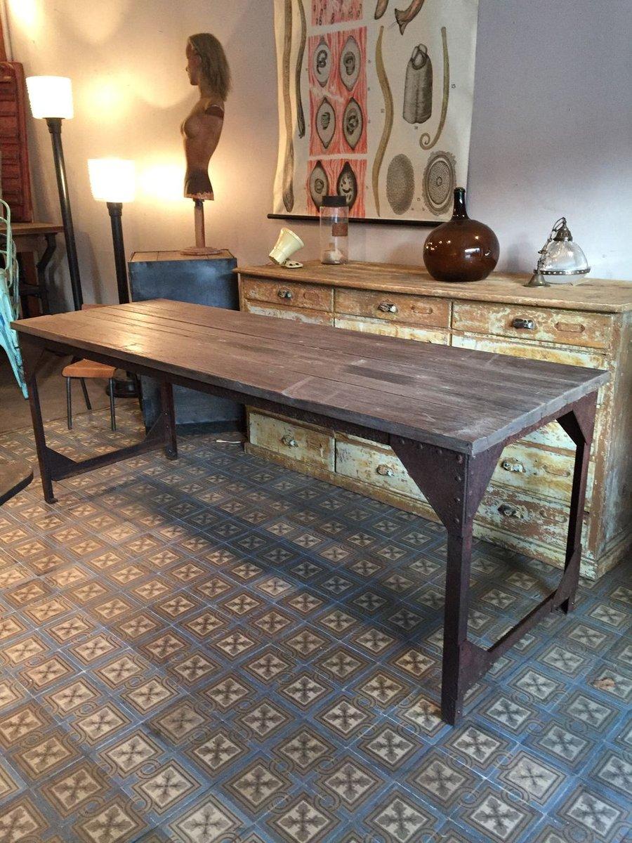 Tavolo da pranzo industriale in metallo e legno francia - Tavolo legno e metallo ...