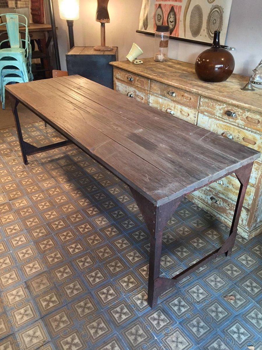 Tavolo da pranzo industriale in metallo e legno francia - Tavolo da pranzo legno ...