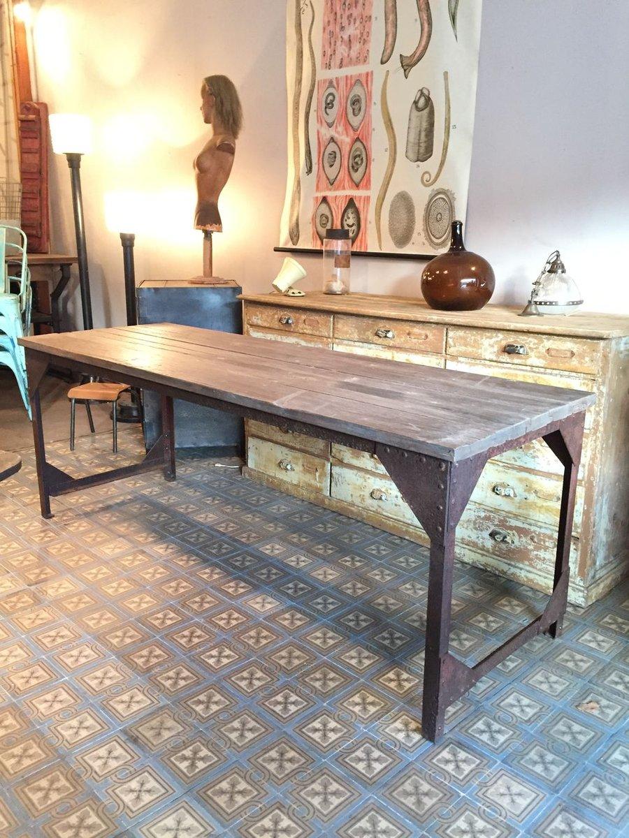 table de salon industrielle en bois et en m tal france en vente sur pamono. Black Bedroom Furniture Sets. Home Design Ideas