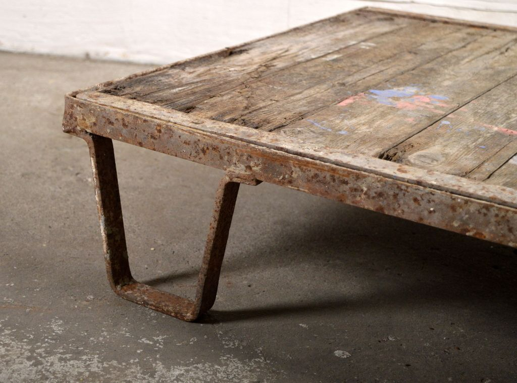 Vintage Industrial Wooden Iron Coffee Table For Sale At Pamono