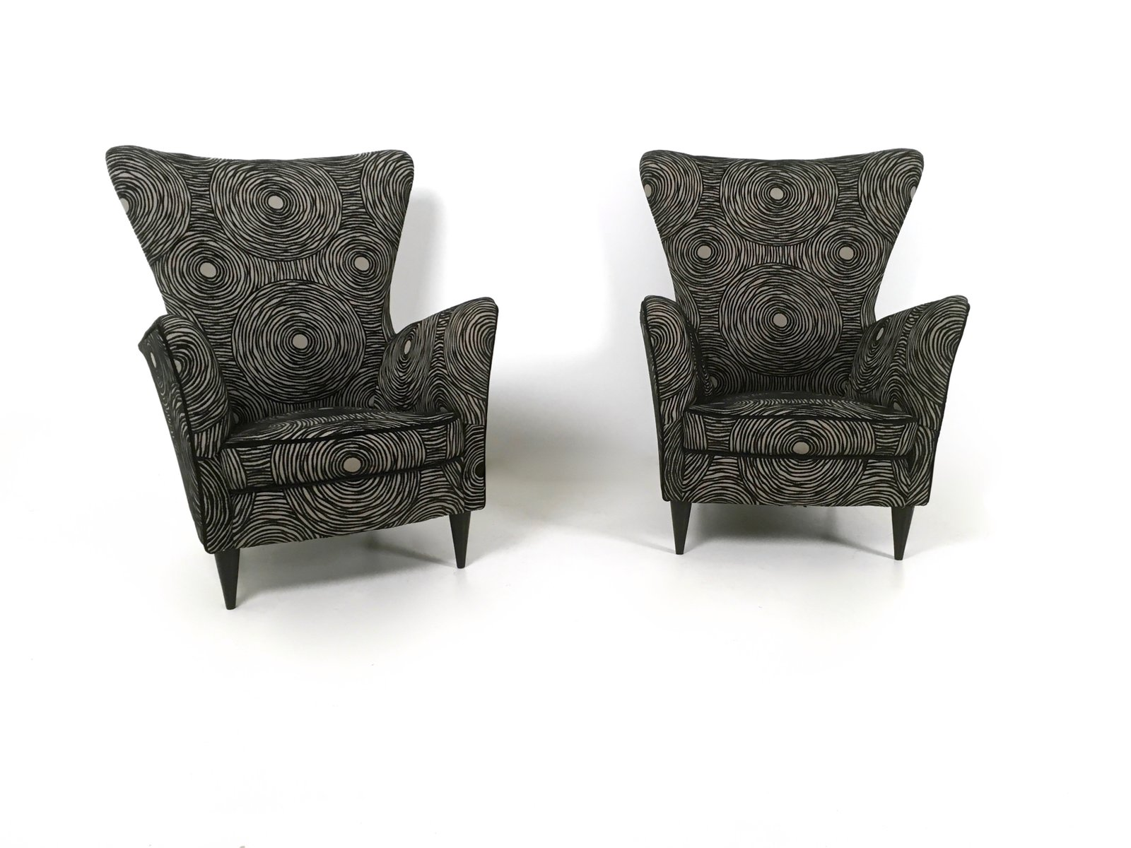 italian grey black patterned armchairs 1950s set of 2