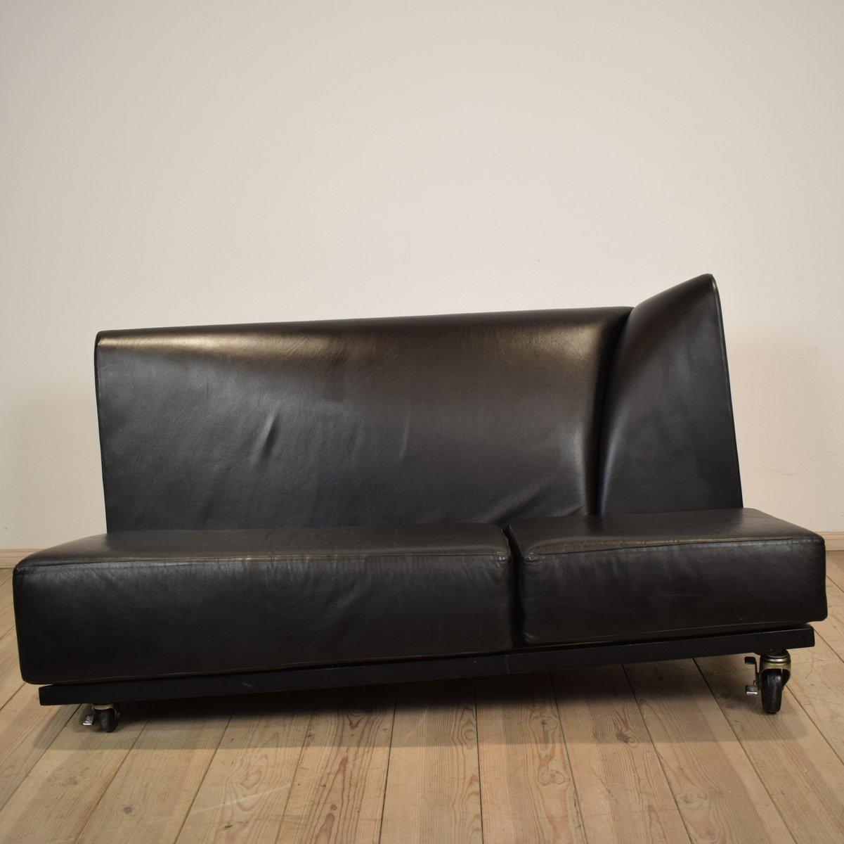 schwarzes ledersofa von pallucco m rivier f r pallucco. Black Bedroom Furniture Sets. Home Design Ideas