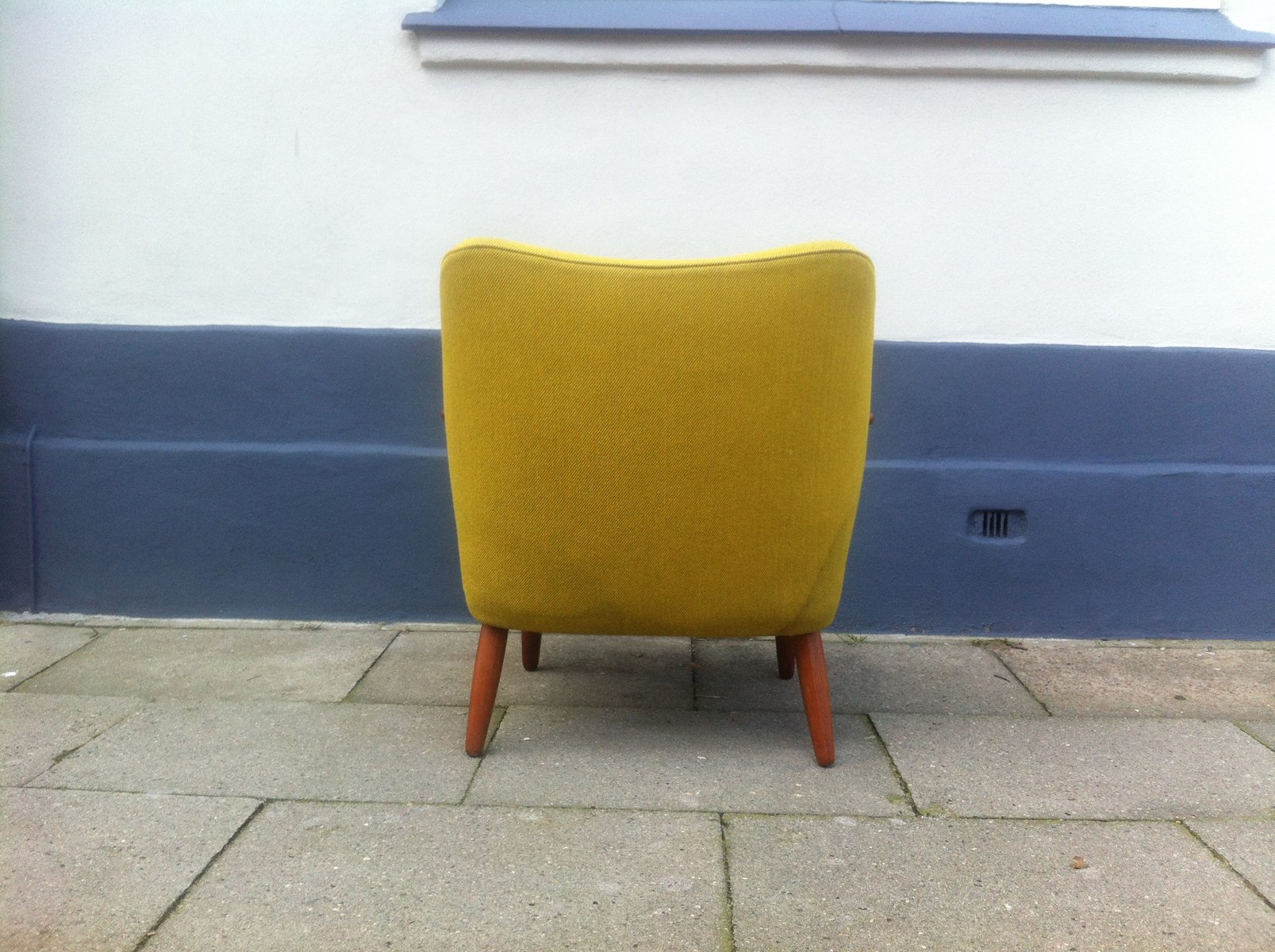 Danish Mid Century Modern Easy Chair In Yellow Wool With