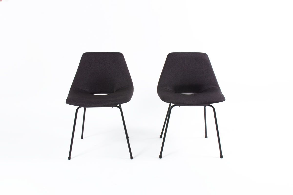 tonneau chairs by pierre guariche for steiner 1950 set. Black Bedroom Furniture Sets. Home Design Ideas