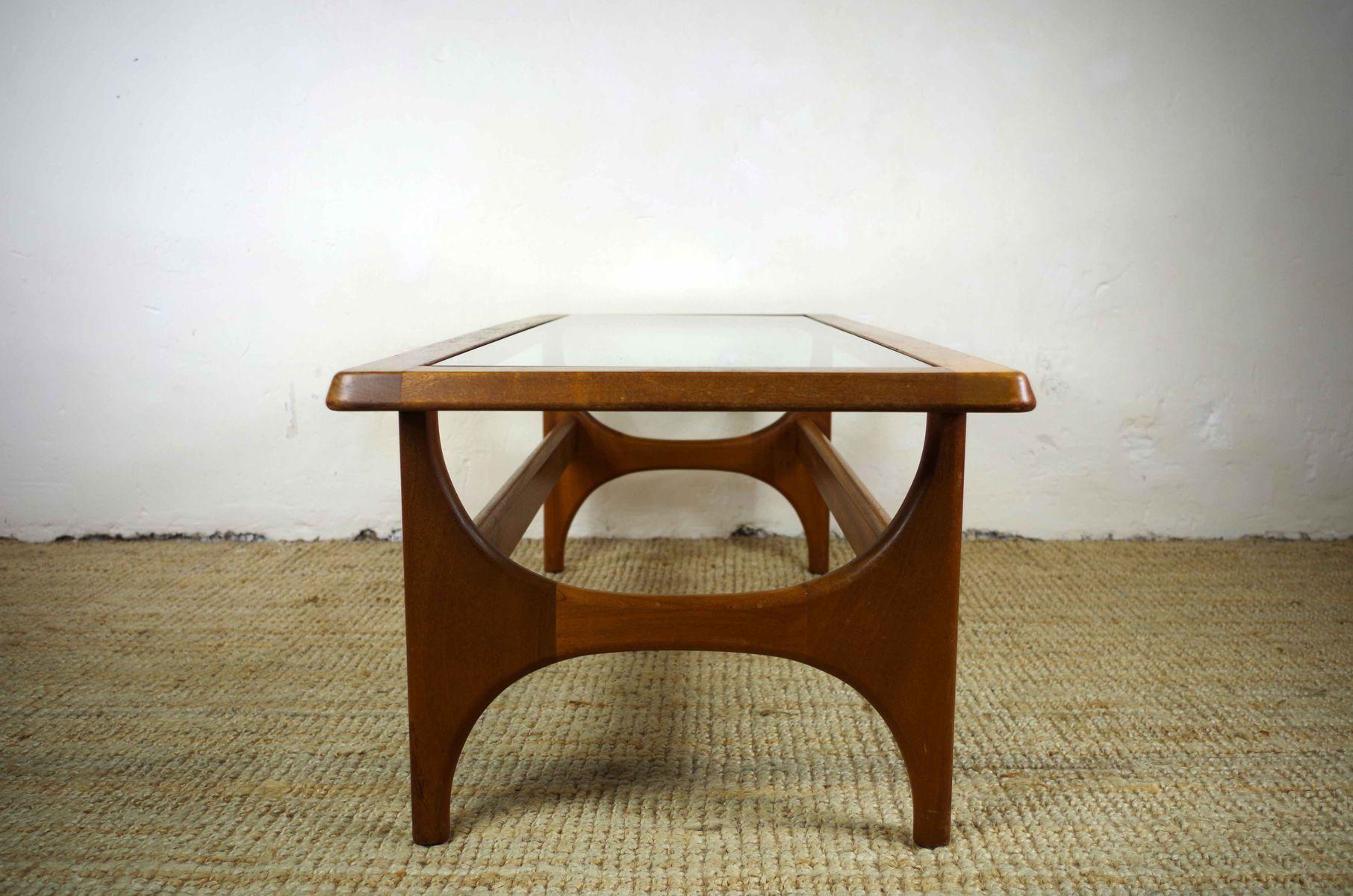 Teak And Glass Coffee Table Mid Century Scandinavian Teak Glass Coffee Table For Sale At Pamono