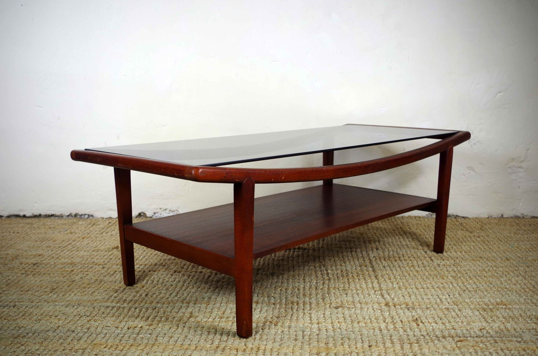 Mid century scandinavian wood glass coffee table for for Glass inlay coffee table