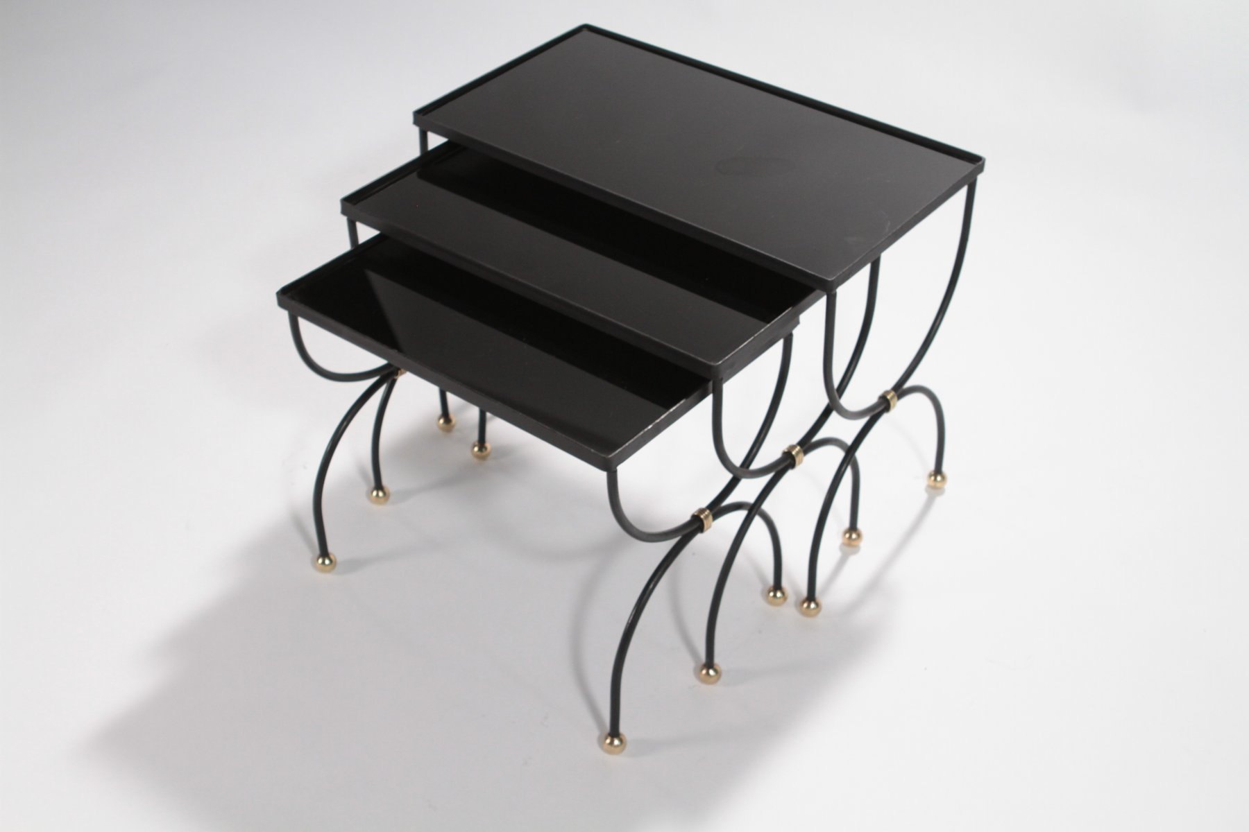 Iron Bronze amp Brass Nesting Tables 1950s For Sale At Pamono