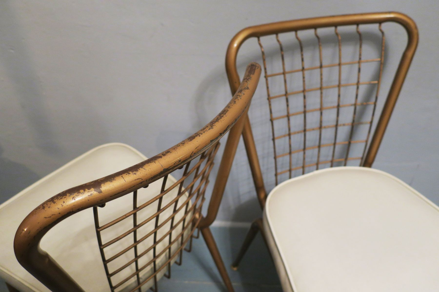 Bronzed Metal & Wire Chairs 1950s Set of 2 for sale at Pamono