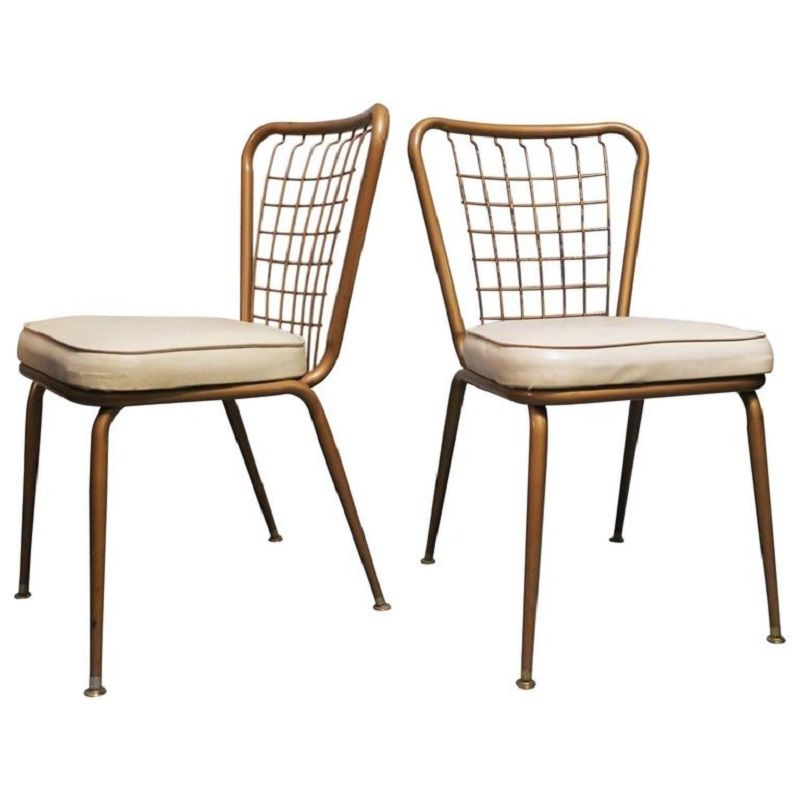 Bronzed Metal U0026 Wire Chairs, 1950s, Set Of 2