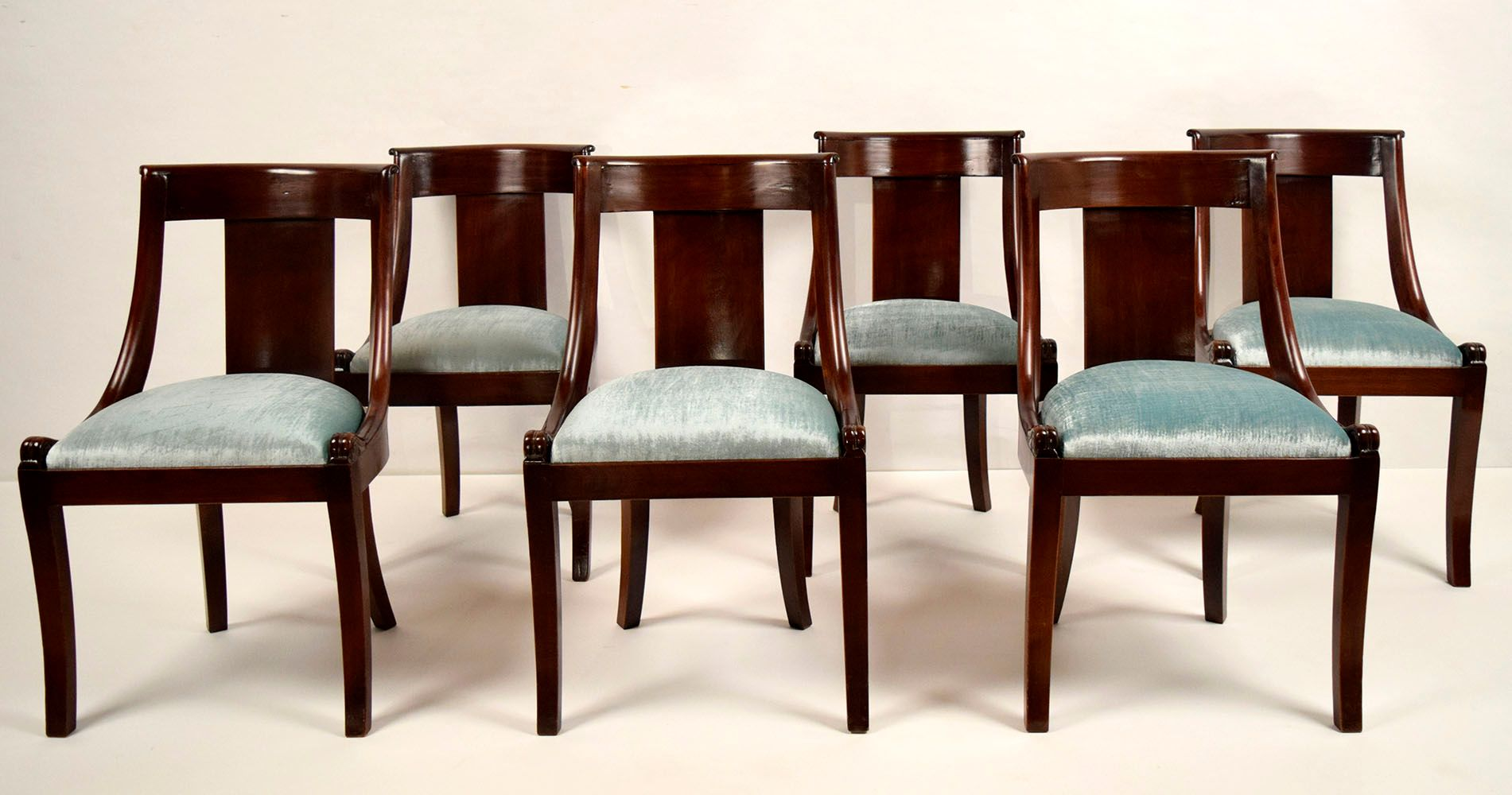French empire style mahogany dining chairs 1900s set of for Mahogany dining room chairs