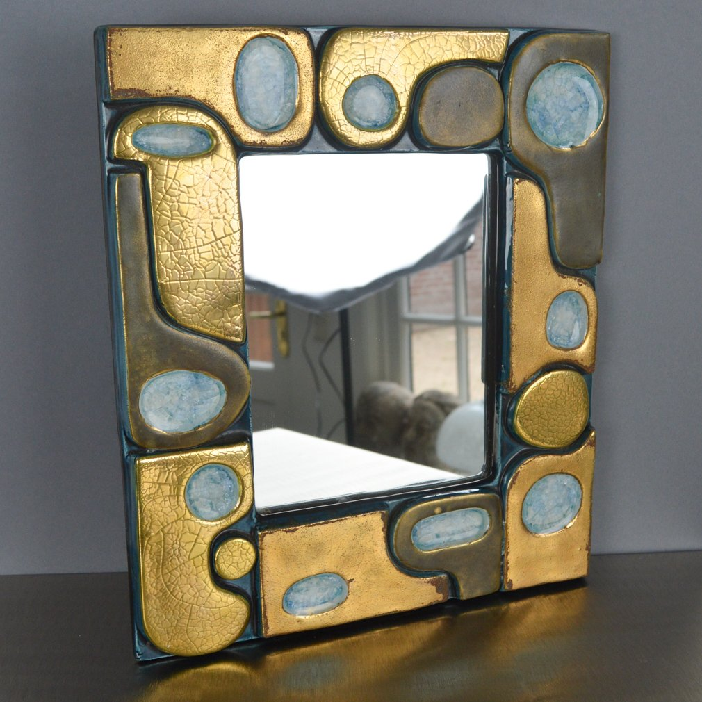 Mid-Century Mirror by Franois Lembo for Vallauris, 1960s