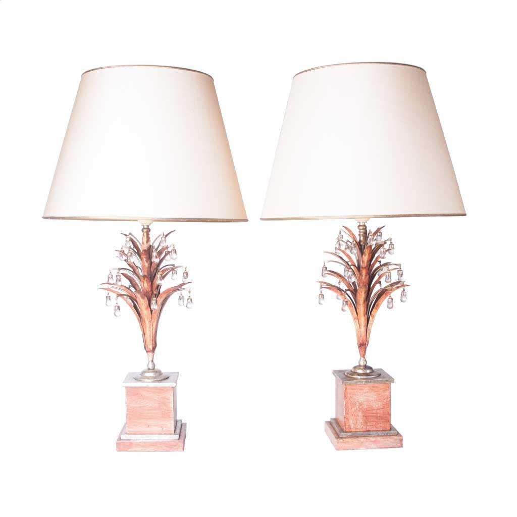 versilberte nickel bergkristall vintage lampen 2er set. Black Bedroom Furniture Sets. Home Design Ideas