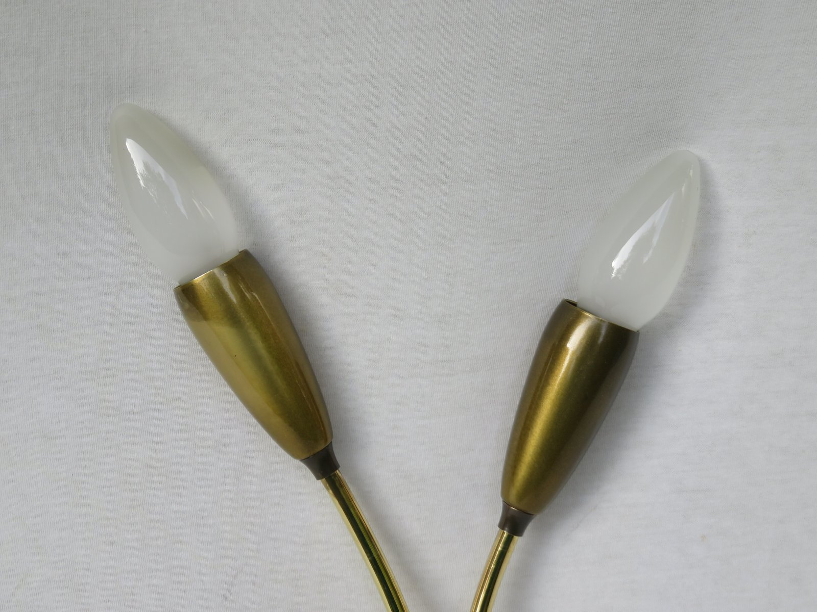 French Patinated & Polished Brass Wall Lamps, 1950s, Set of 2 for sale at Pamono