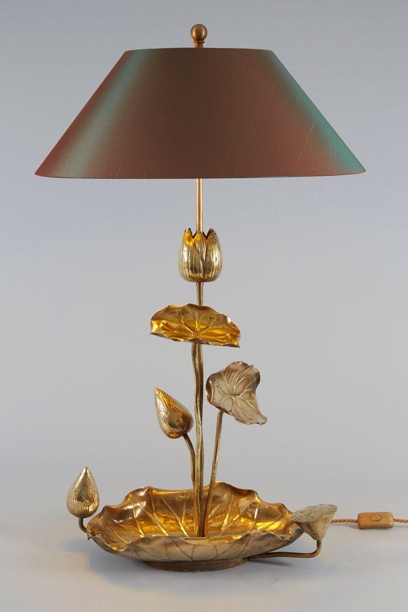 Delightful Hollywood Regency Brass Lotus Table Lamp, 1950s