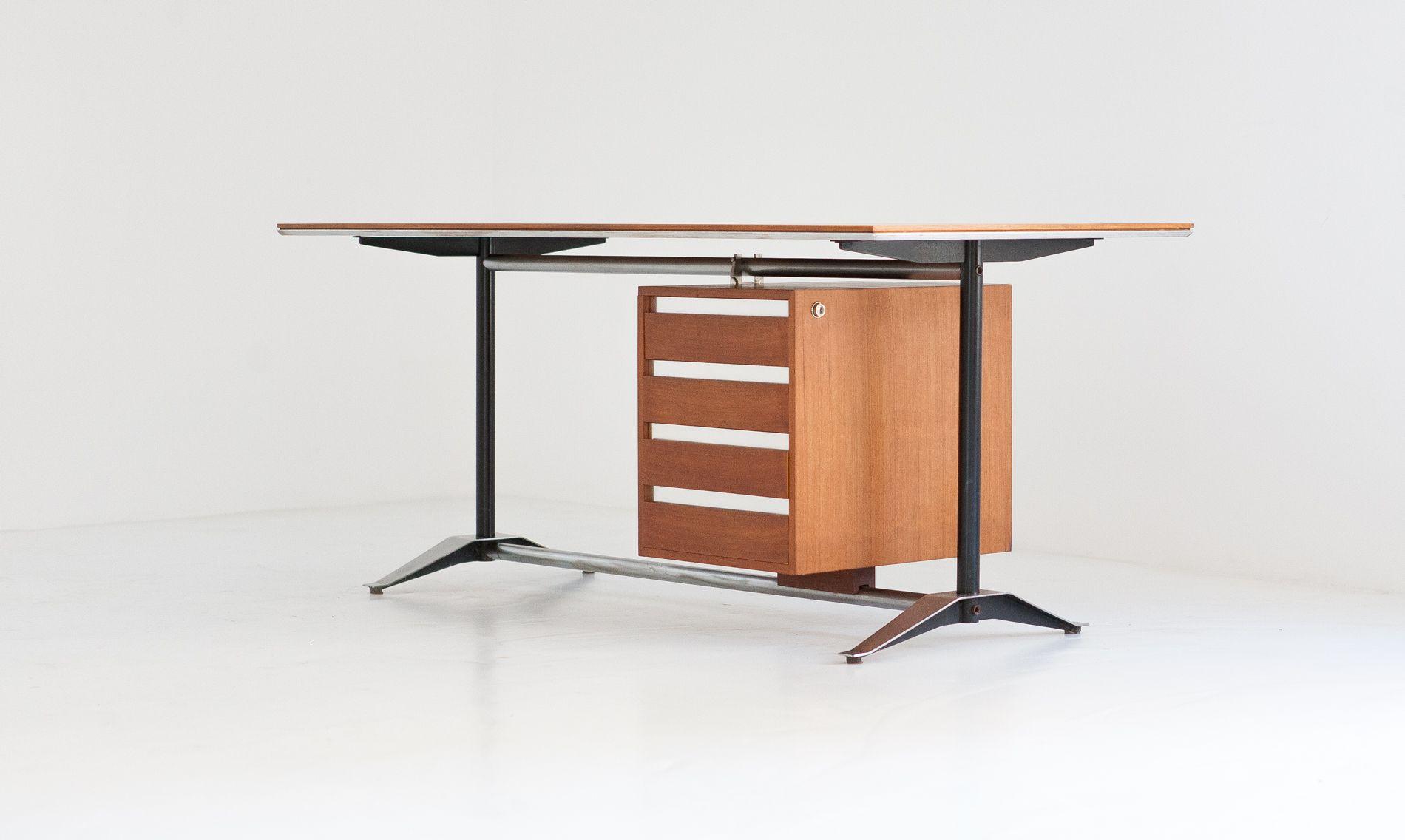 Mid Century Italian Teak Desk by Alberto Rosselli & Gio Ponti for