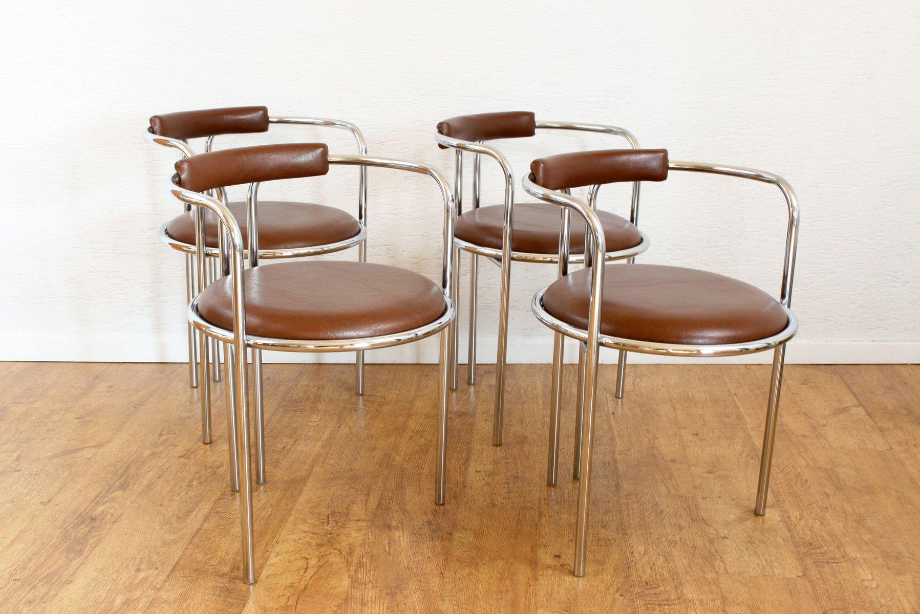 italienische st hle mit braunem kunstlederbezug 4er set bei pamono kaufen. Black Bedroom Furniture Sets. Home Design Ideas
