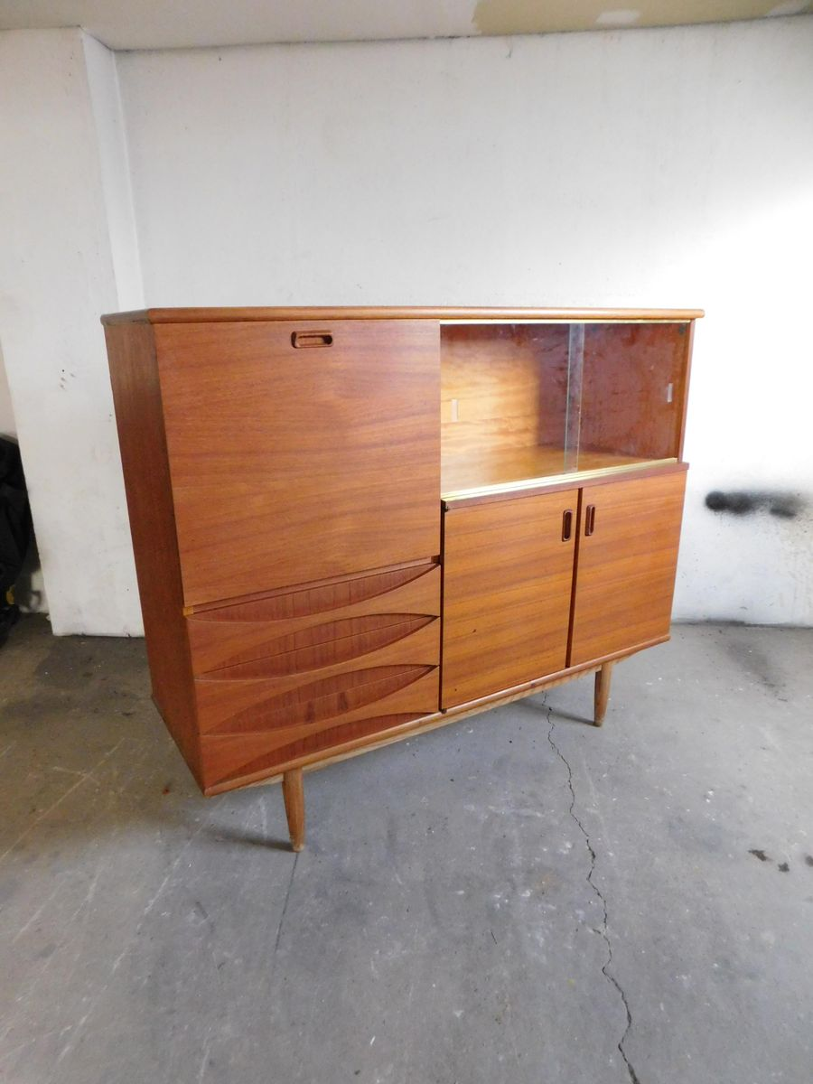 large teak sideboard with sliding glass doors 1960s for. Black Bedroom Furniture Sets. Home Design Ideas