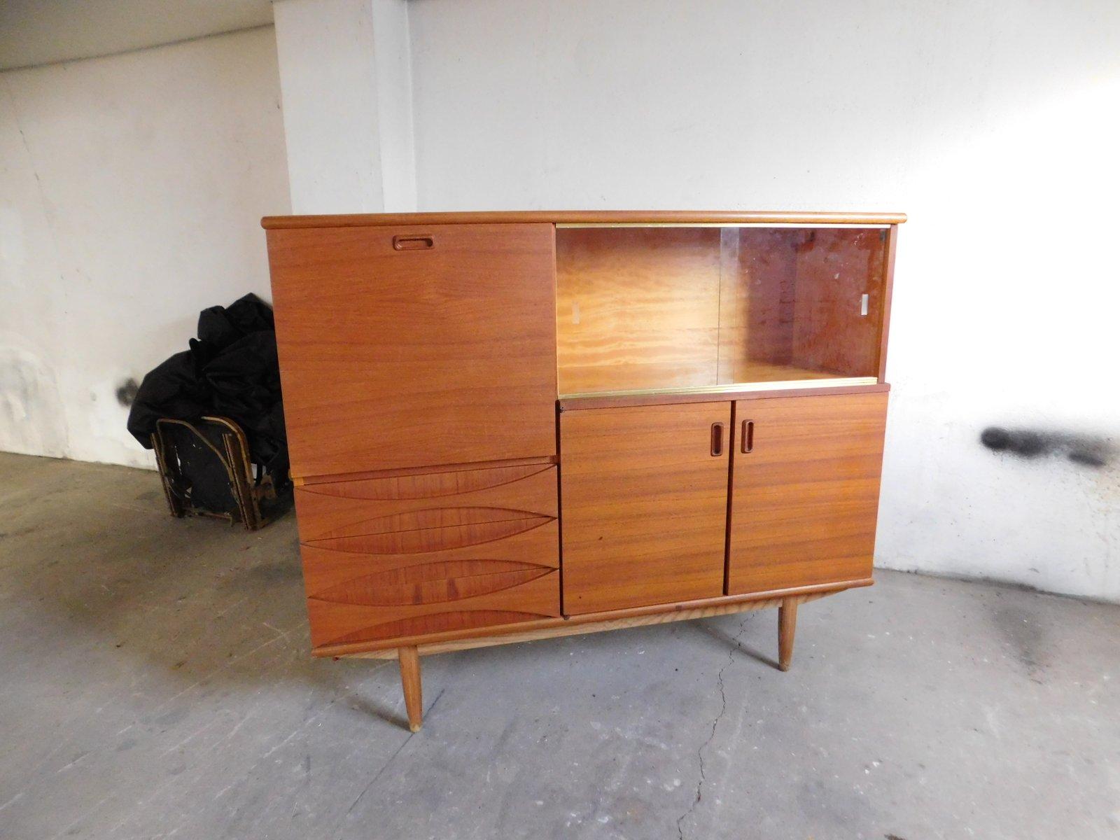 large teak sideboard with sliding glass doors 1960s for sale at pamono. Black Bedroom Furniture Sets. Home Design Ideas