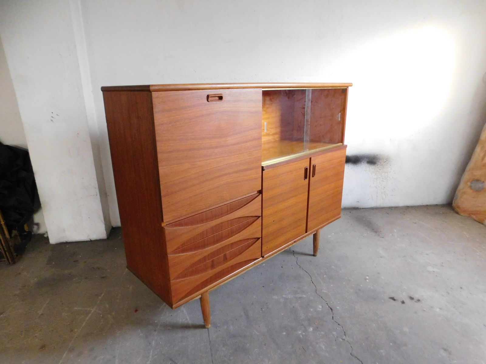 Large teak sideboard with sliding glass doors 1960s for for Sliding glass doors germany