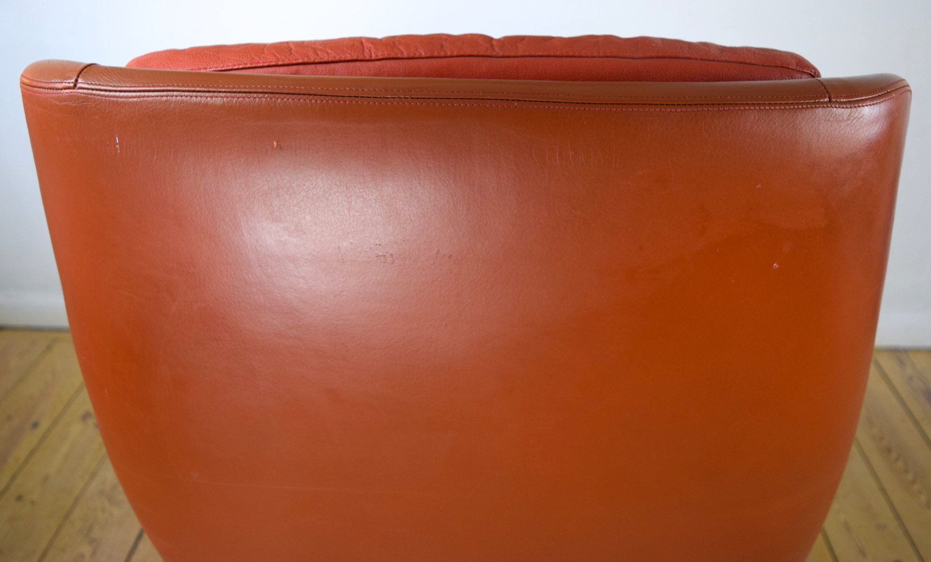 Danish Leather Swivel Chair by H W Klein for Bramin M¸bler 1960s