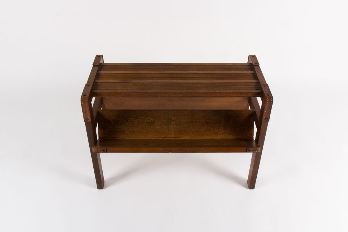 Oak Leather Coffee Table By Jacques Adnet 1930s For Sale At Pamono