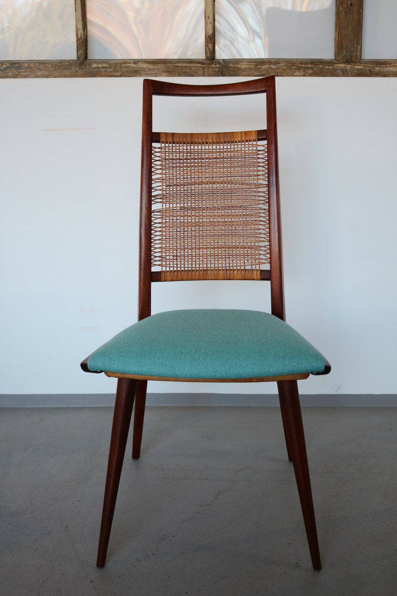 d nische teak st hle mit gewebten r ckenlehnen 1960er. Black Bedroom Furniture Sets. Home Design Ideas