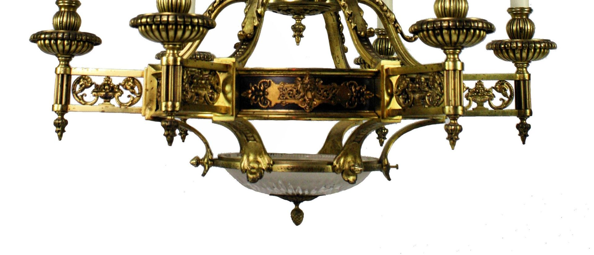 Large french empire gilt bronze chandelier 1860s for sale at pamono price per piece arubaitofo Image collections