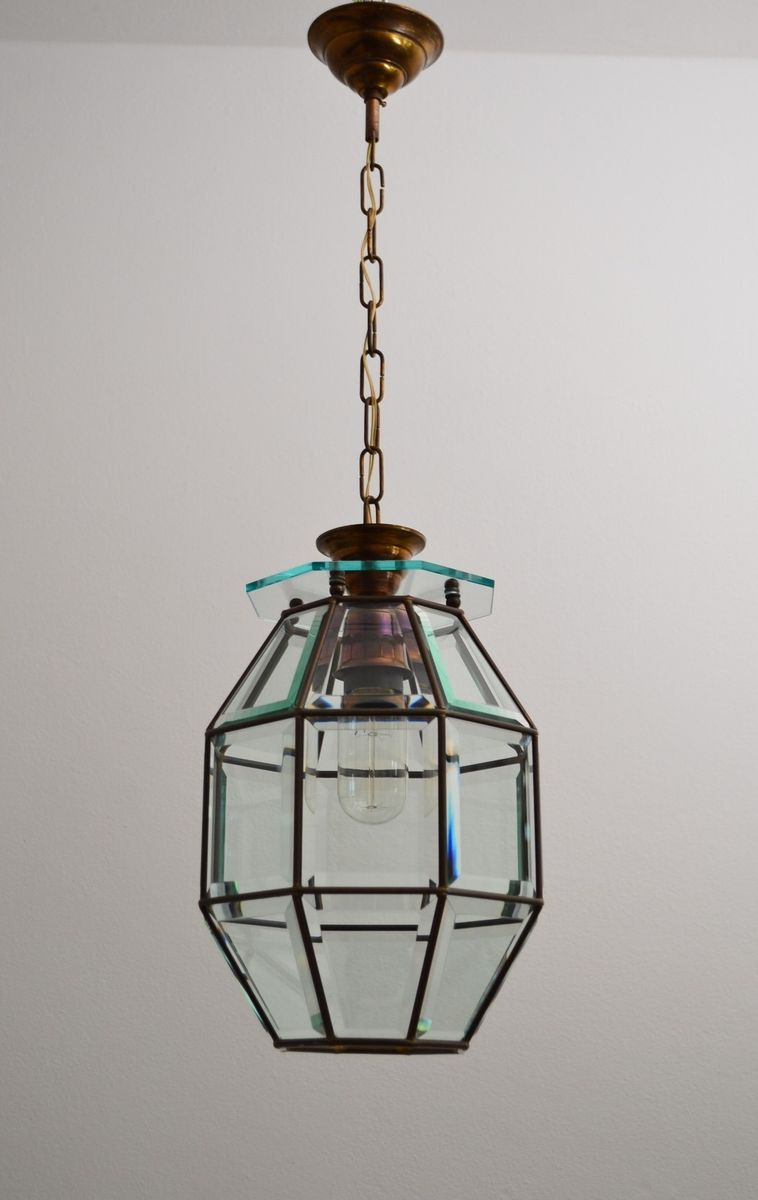 Mid Century Italian Brass Amp Cut Glass Lantern Pendant For