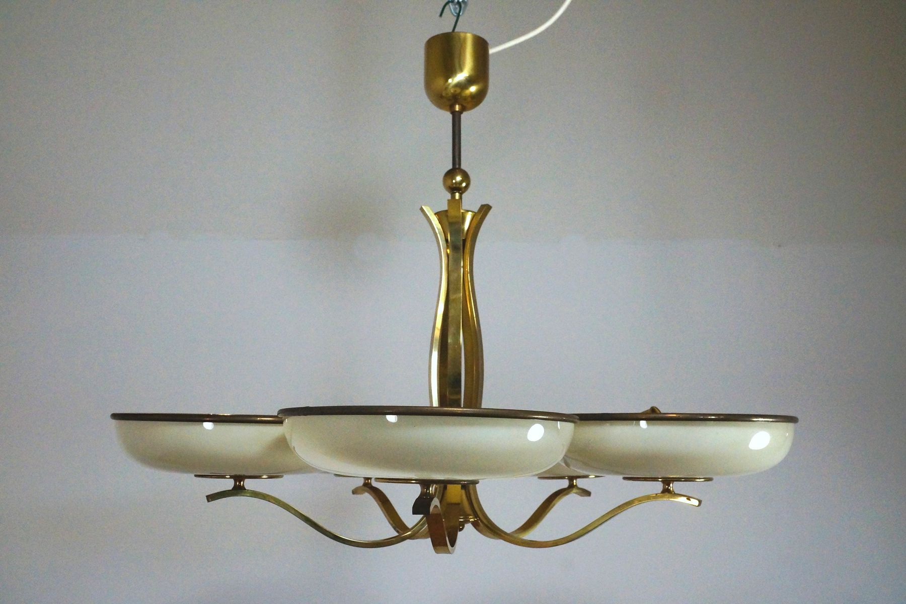 Glass Amp Brass Hanging Lamp 1940s For Sale At Pamono