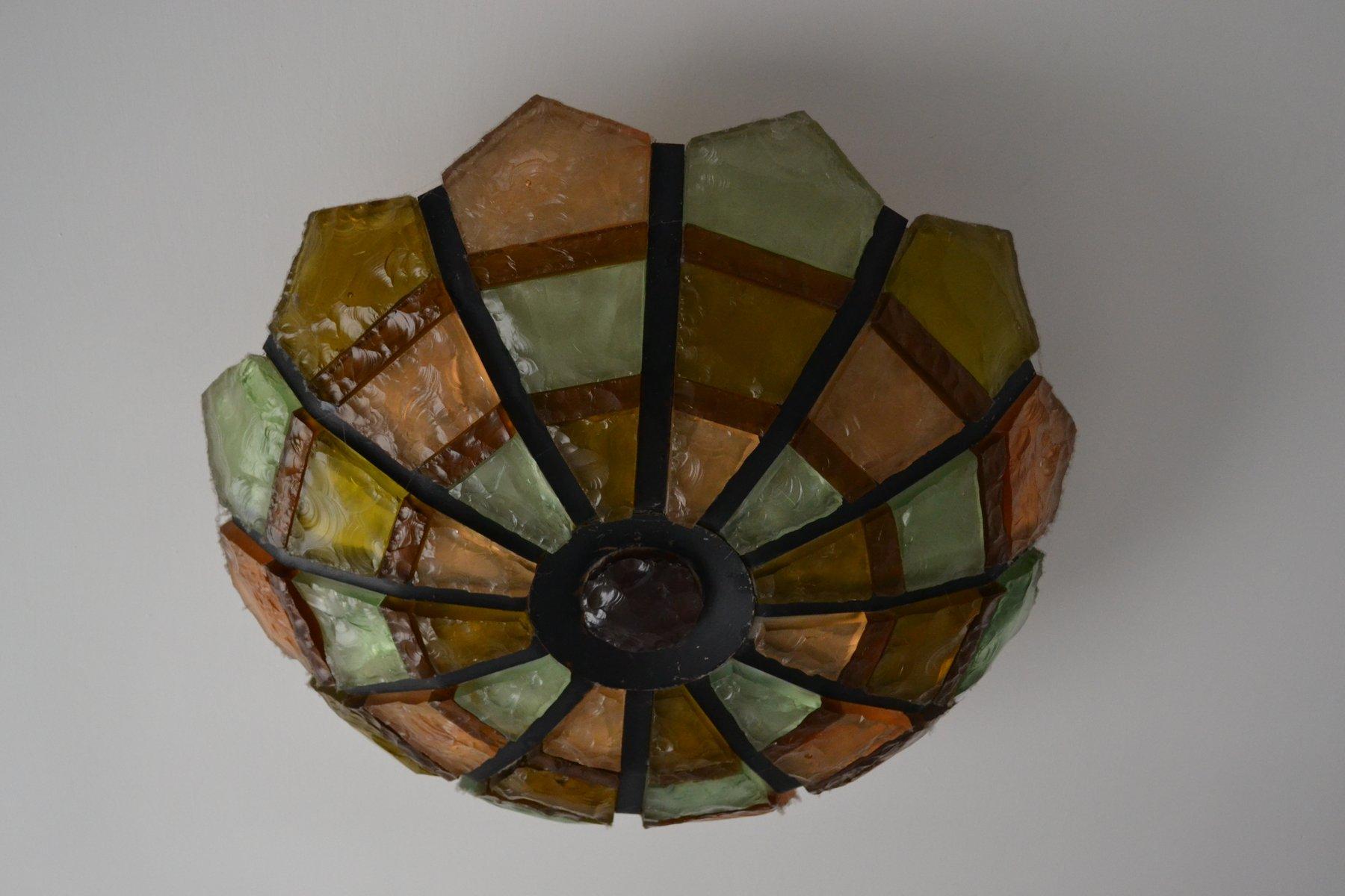 deckenlampe aus eisen glas 1950er bei pamono kaufen. Black Bedroom Furniture Sets. Home Design Ideas