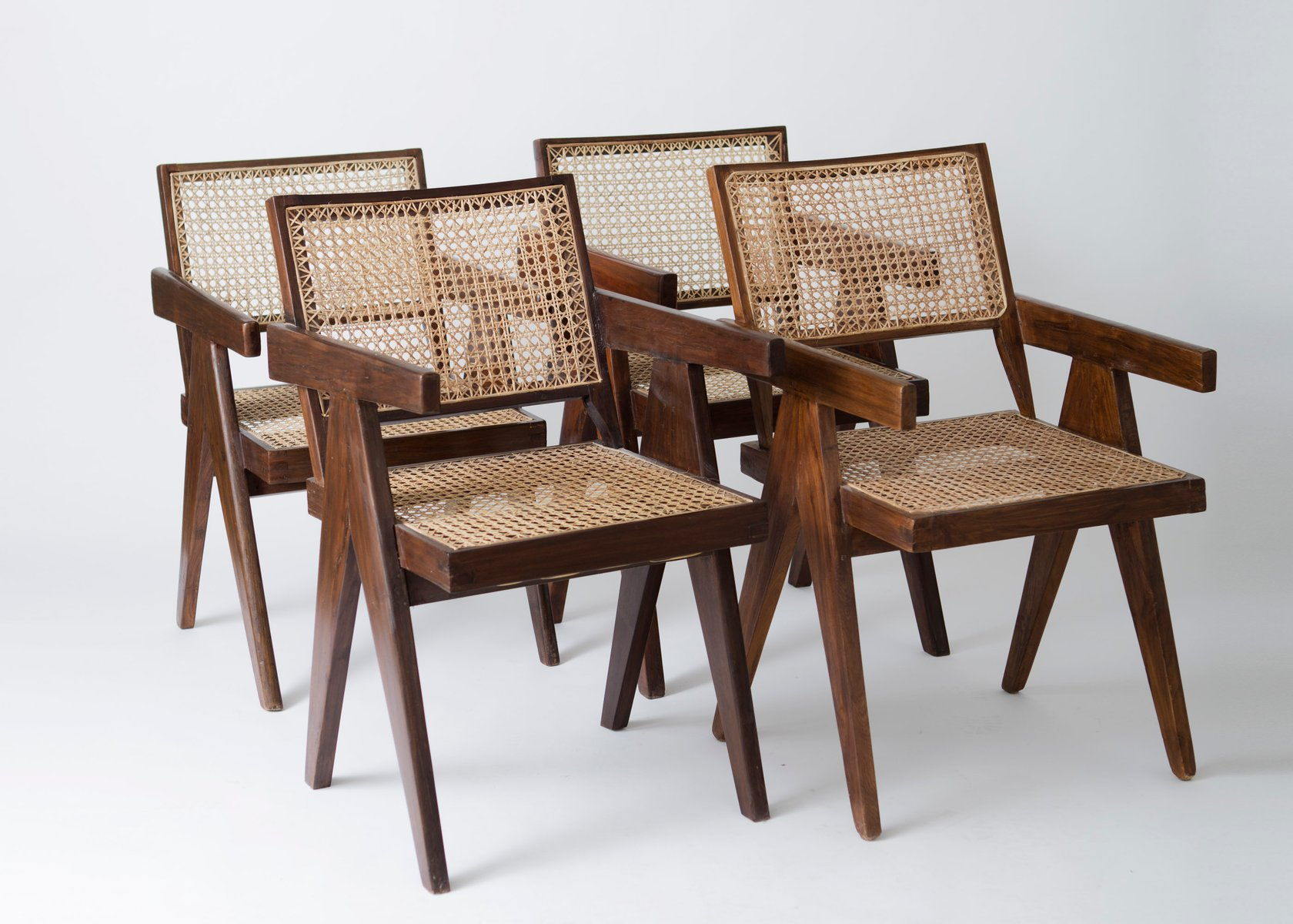 fice Cane Armchairs by Pierre Jeanneret 1950s Set of 4 for