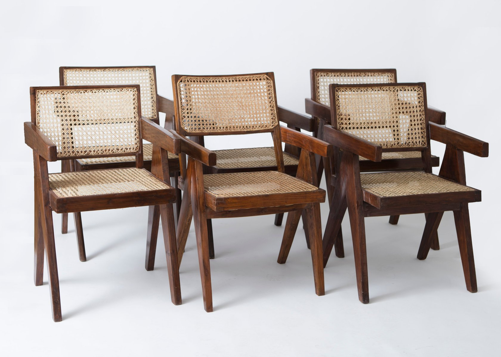 fice Cane Chairs by Pierre Jeanneret Set of 6 for sale at Pamono