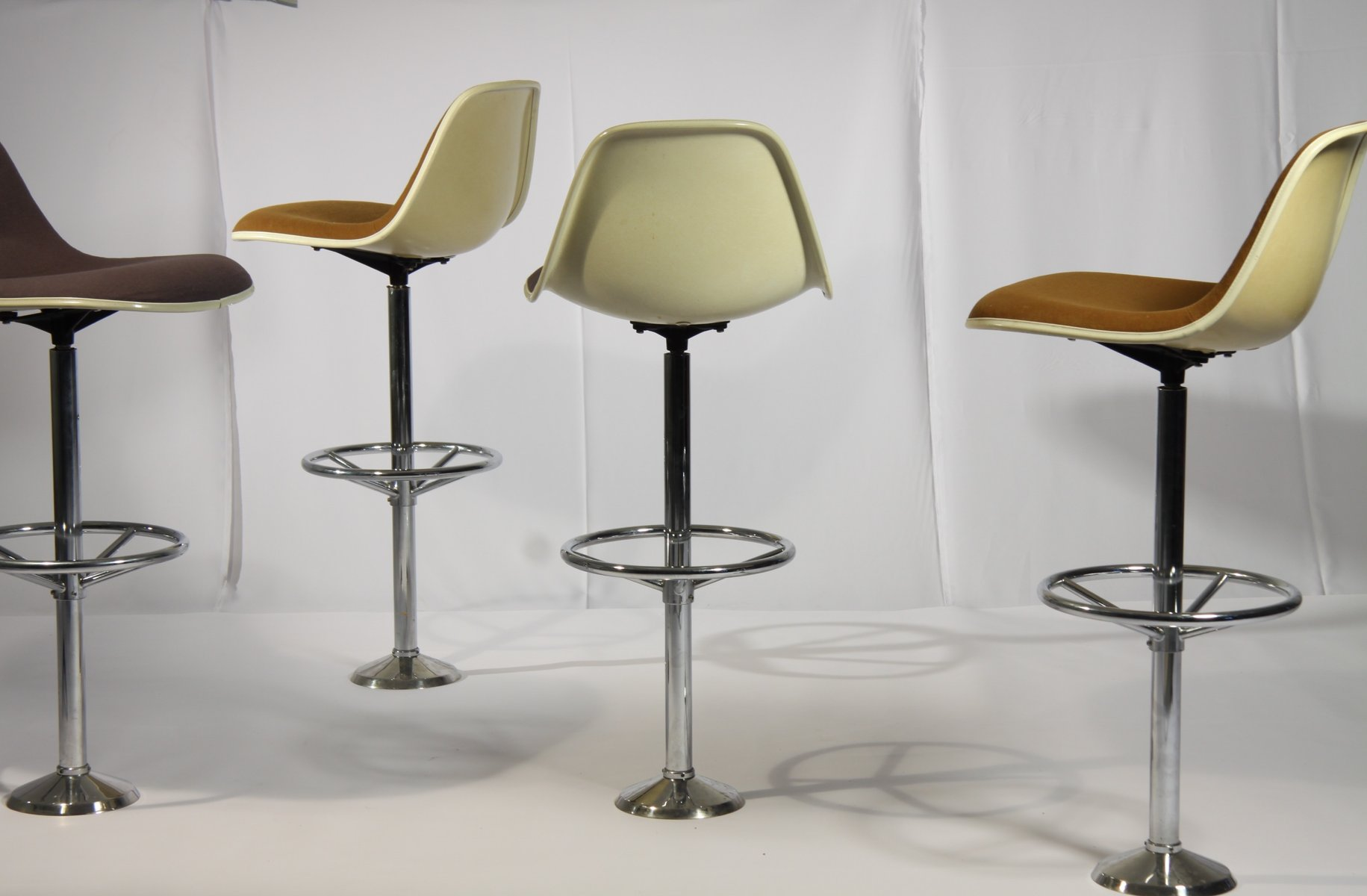 vintage bar stools by ray  charles eames for herman miller set  - vintage bar stools by ray  charles eames for herman miller set of