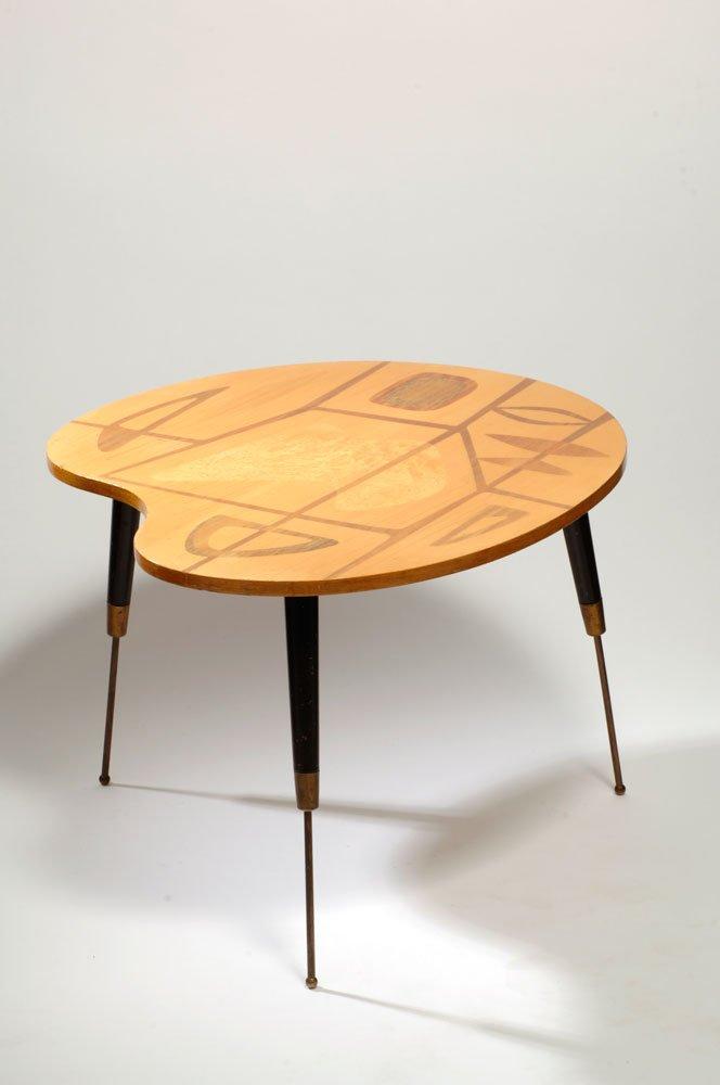 Tavolo atomico a forma di tavolozza in legno satinato, anni \'50 in ...