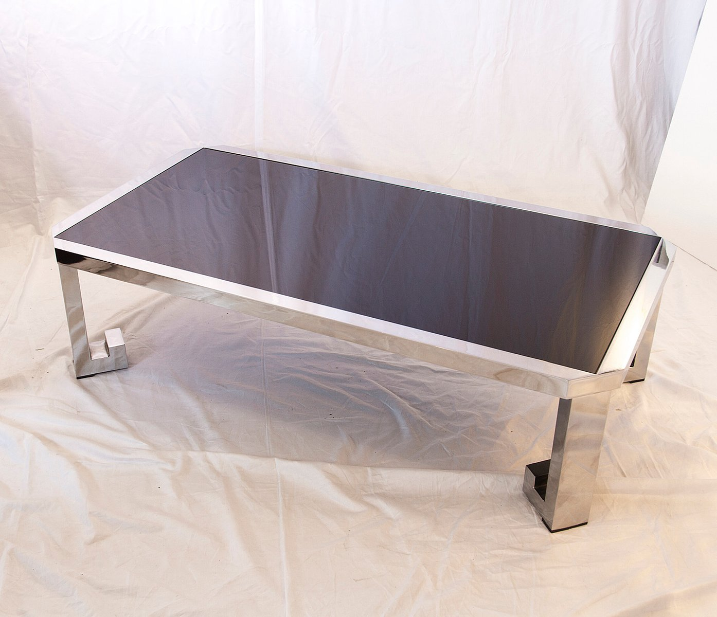 Vintage greek chrome coffee table with black glass for sale at pamono price per piece geotapseo Gallery