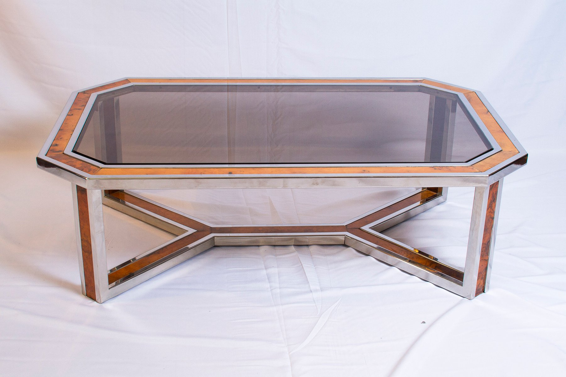 Chrome and Wood Coffee Table by Romeo Rega 1970s for sale at Pamono