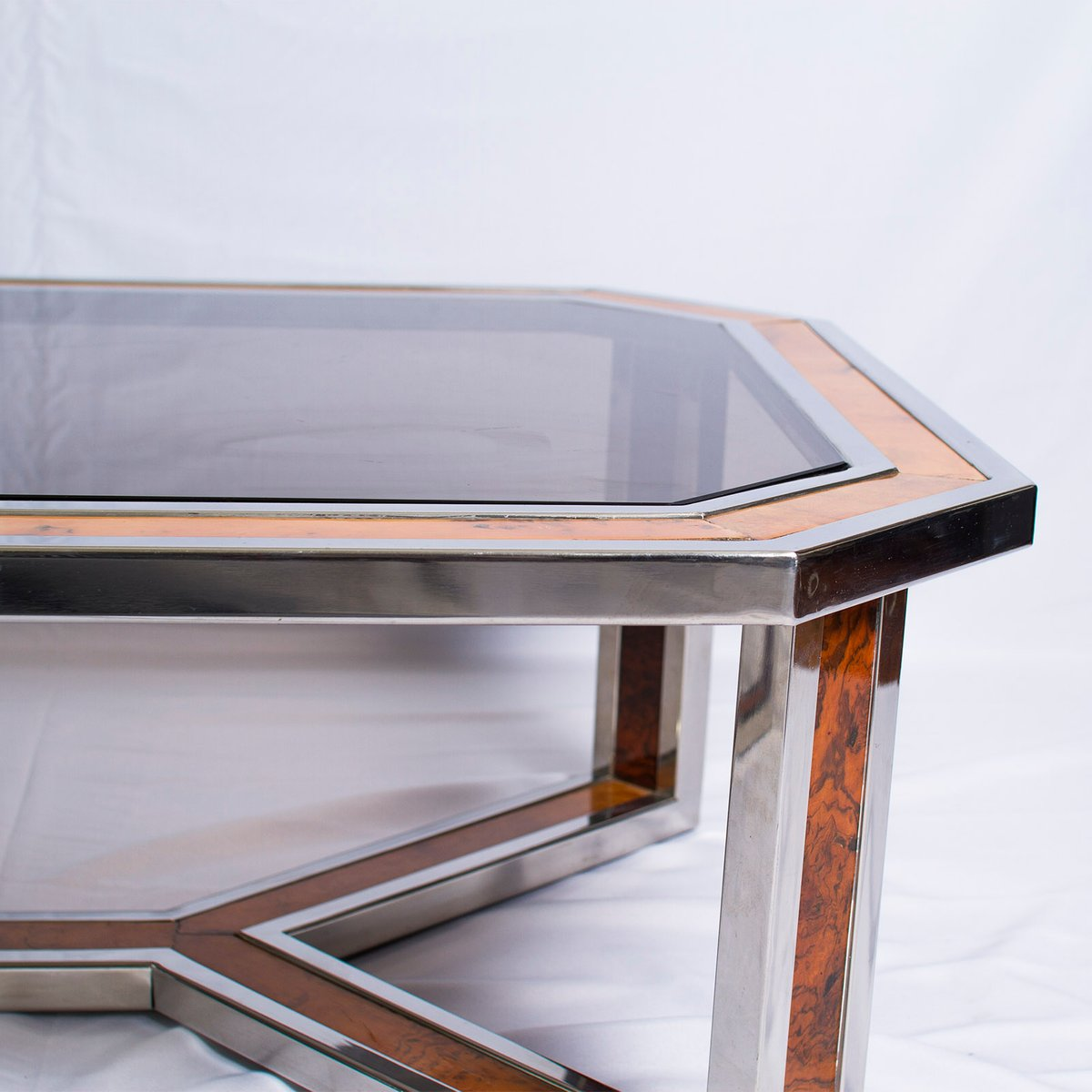 Chrome Coffee Table With Wood Top: Chrome And Wood Coffee Table By Romeo Rega, 1970s For Sale