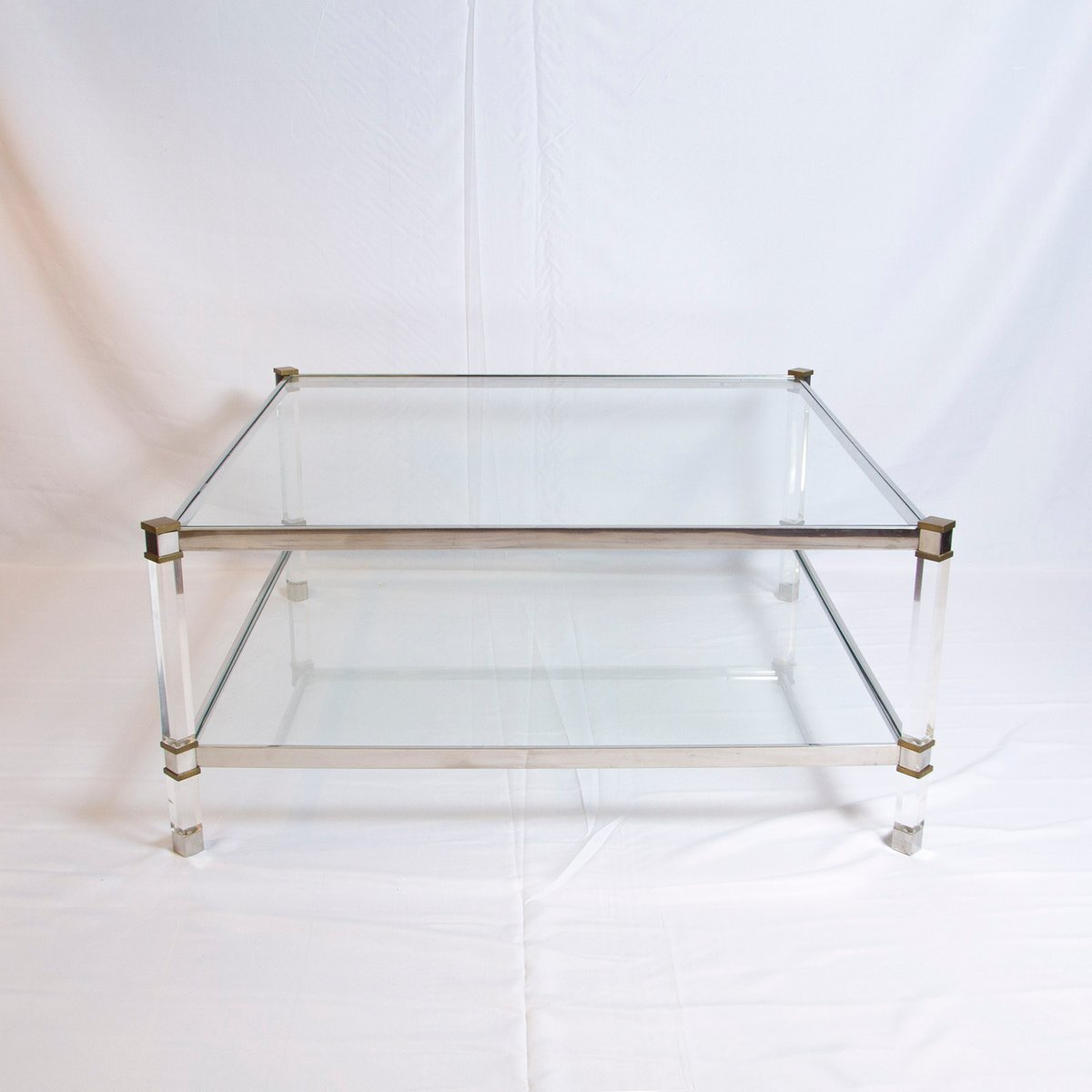 Vintage Two Tier Lucite Brass And Aluminum Coffee Table For Sale At Pamono