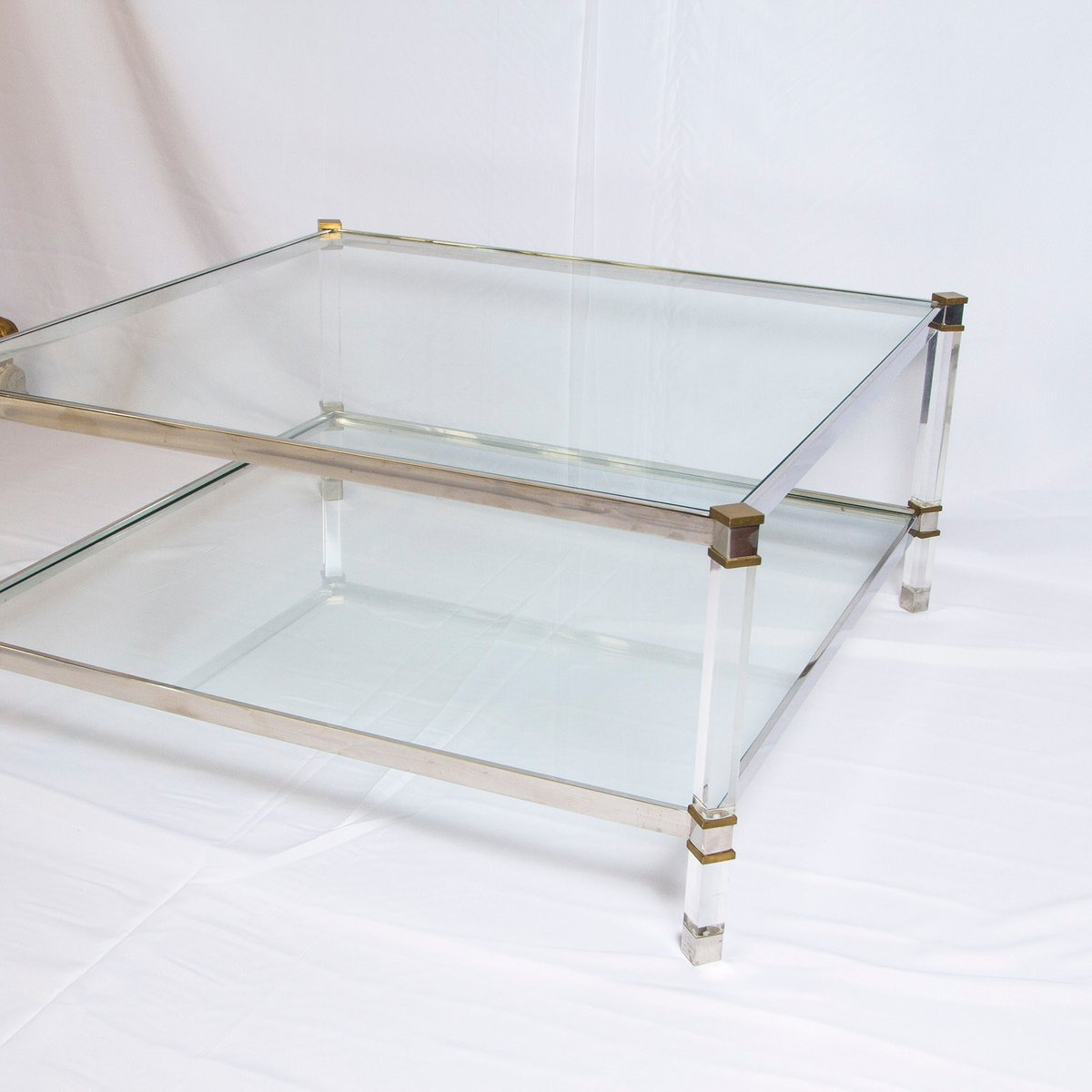 Vintage two tier lucite brass and aluminum coffee table for Lucite and brass coffee table