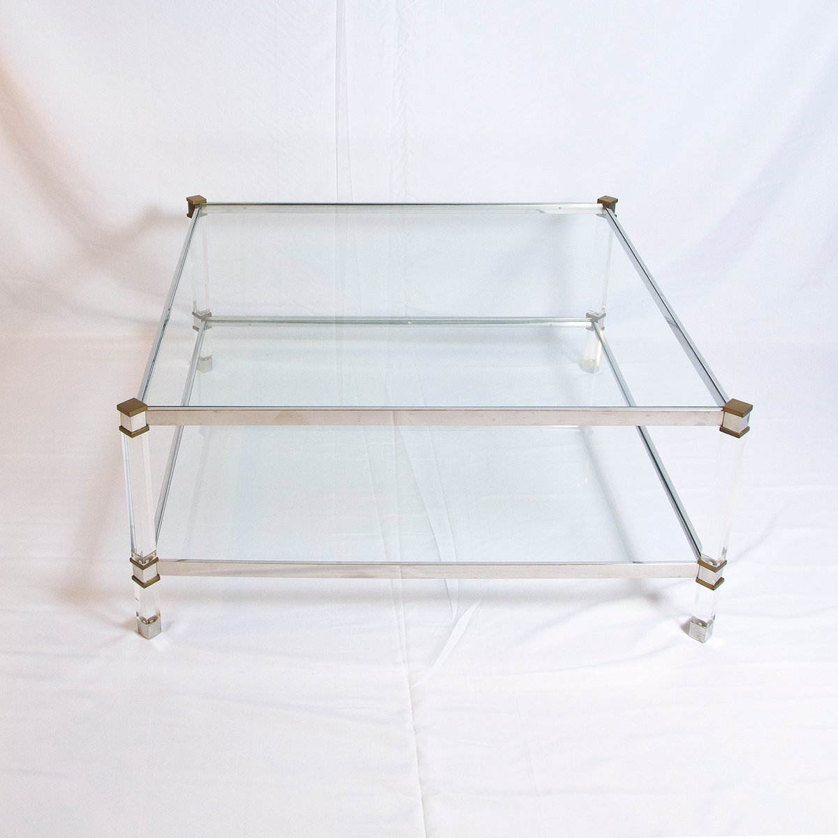 Vintage Two-Tier Lucite, Brass, And Aluminum Coffee Table