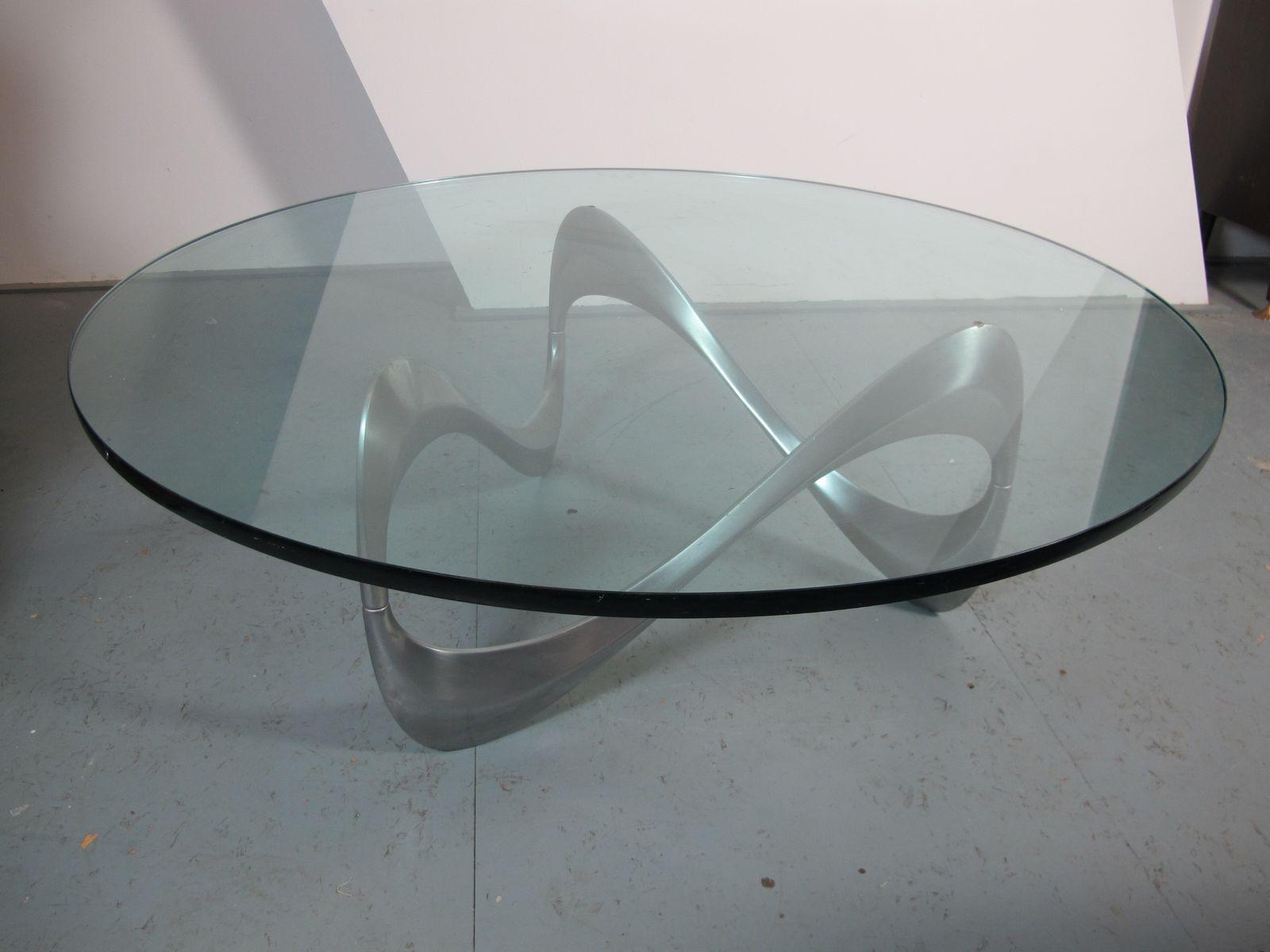 Deutscher Schlangen Couchtisch aus Aluminium & Glas von