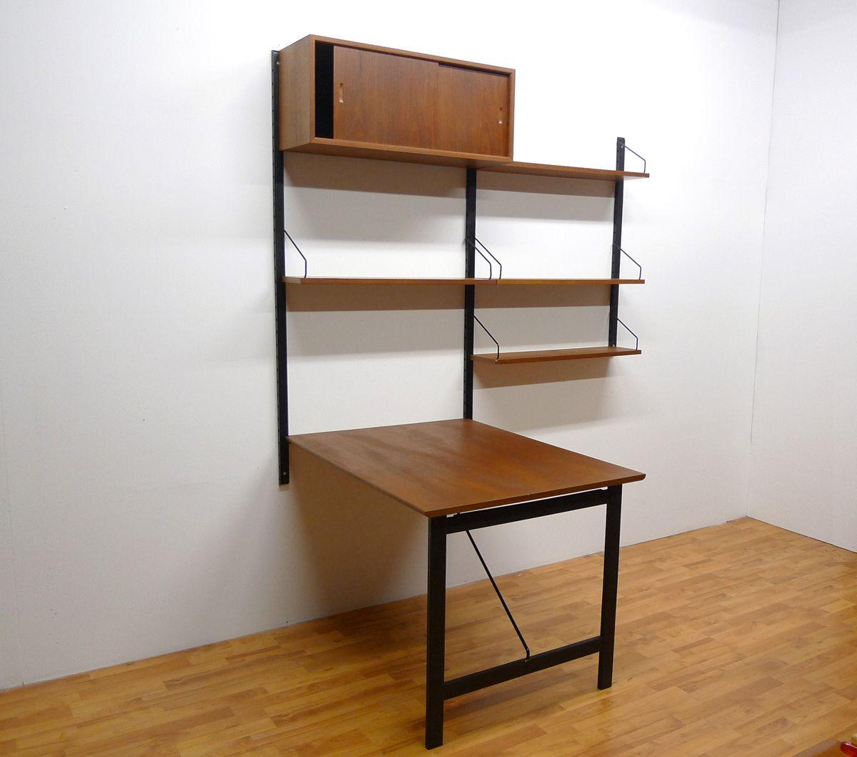 teak wandregal mit schreibtisch von poul cadovius bei pamono kaufen. Black Bedroom Furniture Sets. Home Design Ideas
